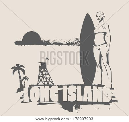 Woman posing with surfboard on grunge brush stroke. Monochrome silhouette. Vector illustration. Vintage Surfing Graphic and Emblem. Palm and lifeguard tower on backdrop. Long Island text