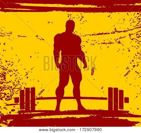 Bodybuilding and barbell silhouettes. Bodybuilder posing on grunge brush stroke.