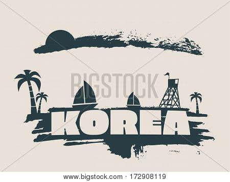 Vintage seaside view poster. Vector background. Palm and safeguard tower on the beach. Yacht in the ocean. Silhouettes on grunge brush stroke. Paintbrush cloudscape. Korea text