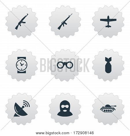 Set Of 9 Simple War Icons. Can Be Found Such Elements As Watch, Terrorist, Field Glasses And Other.