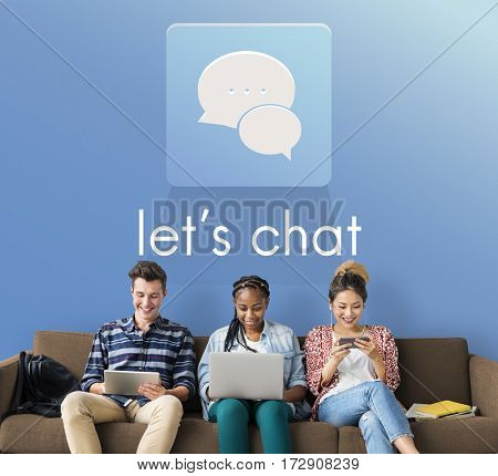 Let's Chat Conversation Message Communication Discussion Word