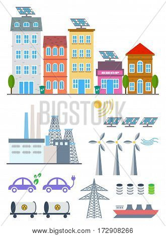 Green City Infographic set elements. Vector illustration with eco Icons. Environment, Ecology Infographic elements. Ecosystem background, banner, diagram, web design, brochure template elements.