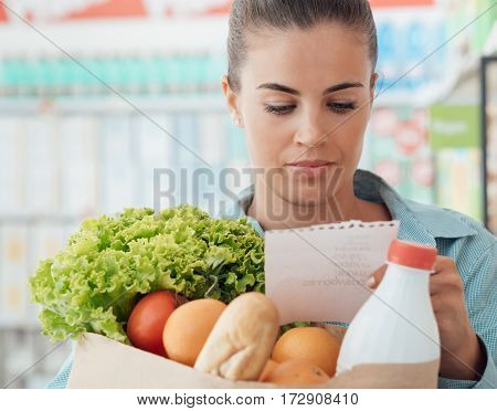 Woman Holding A Grocery Bag