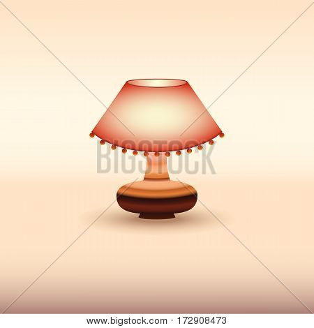 Decorative red table lamp. Vector illustration Design.