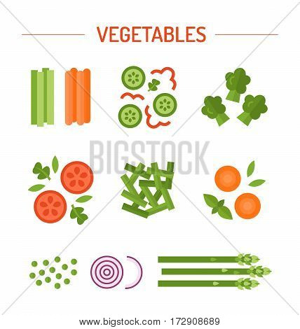 Set vegetable garnish of tomato, cucumber, greens, asparagus, carrots, onions, peas, green beans, broccoli, bell pepper basil Vector illustration for your design flat style