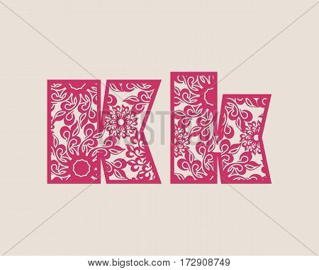 Decorative alphabet vector font. Letter K. Typography for headlines, posters, logos etc. Uppercase and lowercase symbols