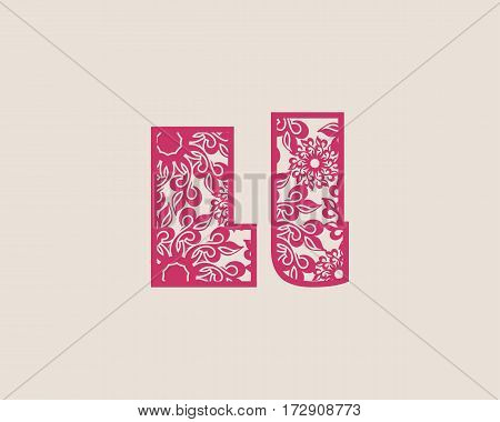 Decorative alphabet vector font. Letter L. Typography for headlines, posters, logos etc. Uppercase and lowercase symbols