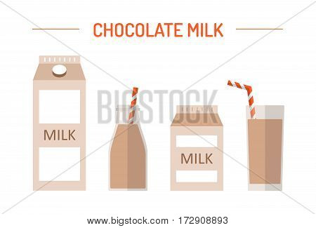 Set of chocolate milk in different packages: glass, carton, bottle isolated on white background. Elements for design dairy products, grocery store, etc. Vector flat design illustration.