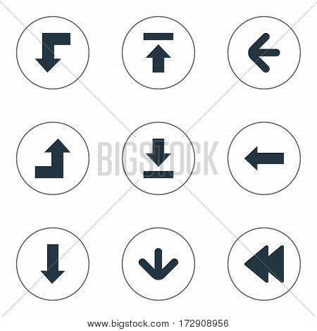 Set Of 9 Simple Arrows Icons. Can Be Found Such Elements As Reduction, Rearward, Left Direction And Other.