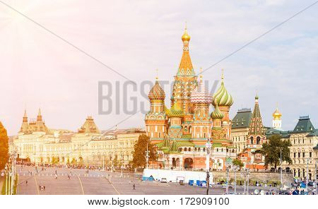 Vasilyevsky Spusk square with Saint Basil's Cathedral and GUM in Moscow