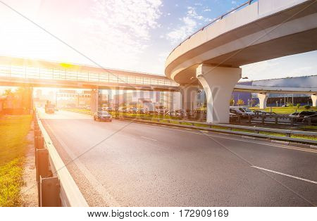 Highway Interchange With Bridge