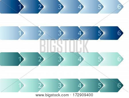 Simple blank timeline infographic templates. 6 steps with numbers. 4 variants blue and turquoise gradient colors. Vector illustration.