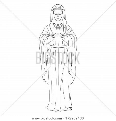 Praying Virgin Mary. Outline cartoon on white background. Black and white coloring page.