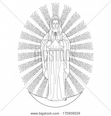 Praying Virgin Mary in rays of sun, standing on moon. Outline cartoon on white background. Black and white coloring page.