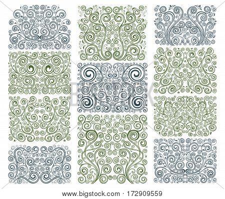 Set of eleven vintage vector floral elements.