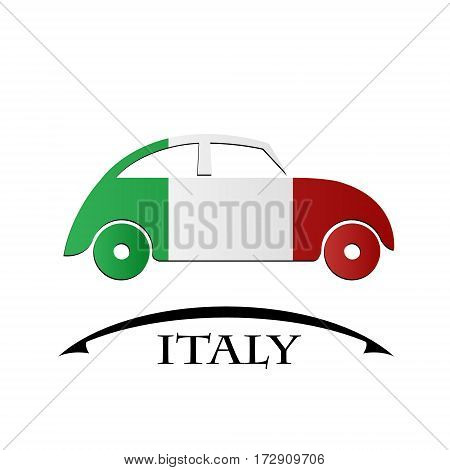 car icon made from the flag of Italy