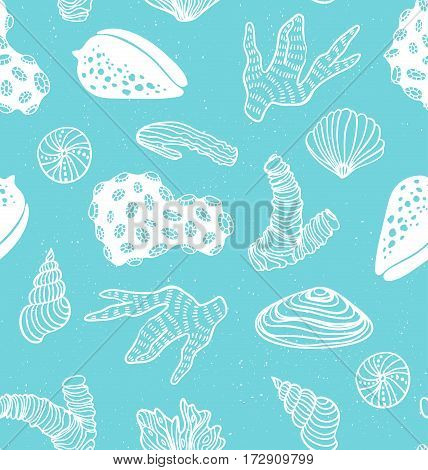 Blue seamless pattern with sea treasures, corals,  cockleshells, stones, seaweed. Vector illustration hand drawn style.