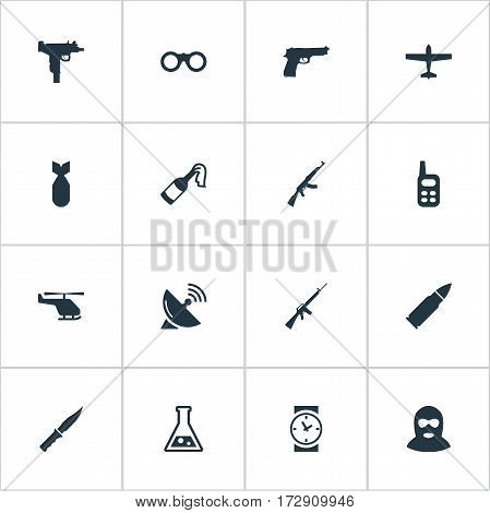 Set Of 16 Simple War Icons. Can Be Found Such Elements As Terrorist, Kalashnikov, Firearm And Other.