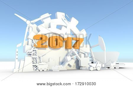 Energy and Power icons set. Sustainable energy generation and heavy industry. 3D rendering. 2017 number