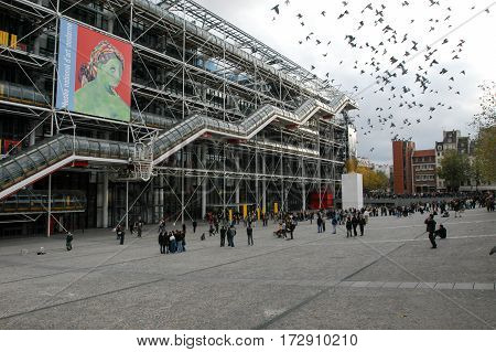 People Walking In Front Of The Centre Georges Pompidou