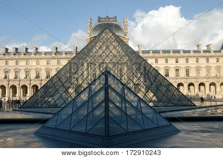 People Walking In Front Of Louvre Museum At Paris