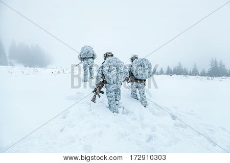 Winter arctic mountains warfare. Action in cold conditions. Squad of soldiers with weapons in forest somewhere above the Arctic Circle. Back view