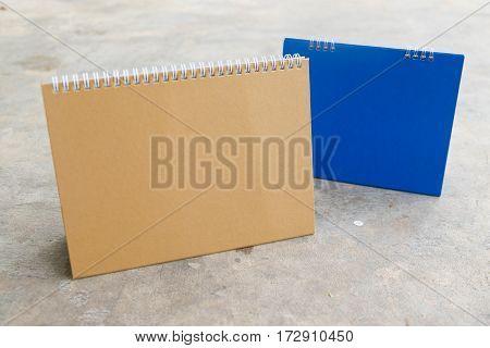 Closeup of blank calendar brown and blue calendar