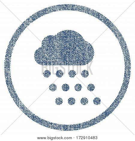 Rain Cloud vector textured icon for overlay watermark stamps. Blue jeans fabric vectorized texture. Symbol with dust design. Blue ink rubber seal stamp with fiber textile structure.