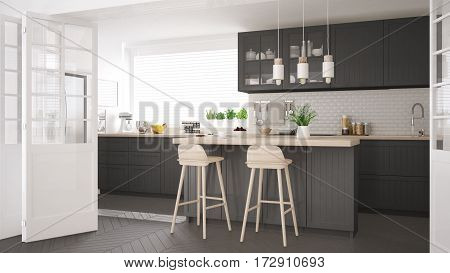 Scandinavian Classic Kitchen With Wooden And Gray Details, Minimalistic Interior Design