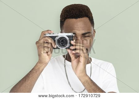 Men Hands Hold Camera Shoot