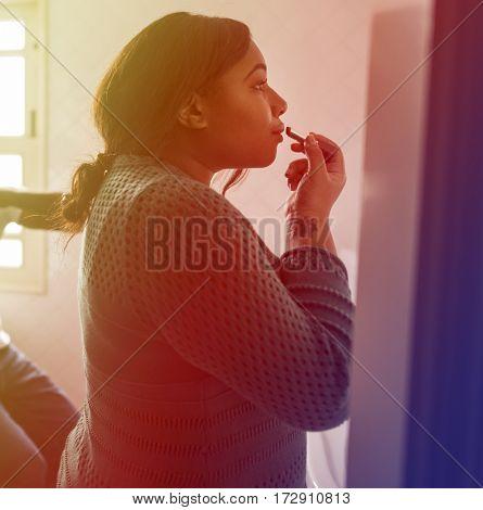 African American Woman Wear Lipstick Makeup