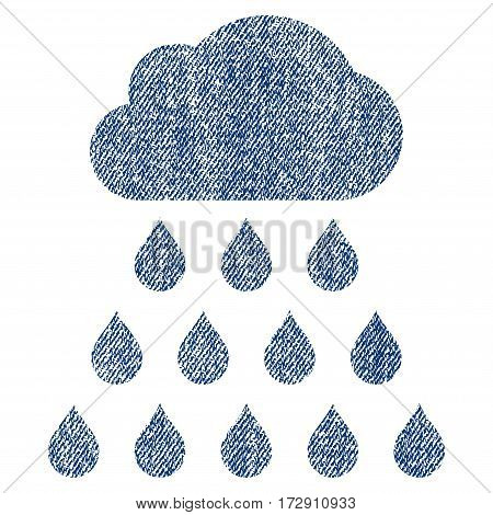 Rain Cloud vector textured icon for overlay watermark stamps. Blue jeans fabric vectorized texture. Symbol with dirty design. Blue ink rubber seal stamp with fiber textile structure.