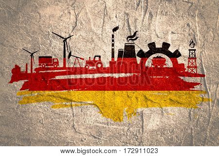 Energy and Power icons set and grunge brush stroke. Energy generation and heavy industry relative image. Agriculture and transportation. Concrete textured. Flag of the Germany