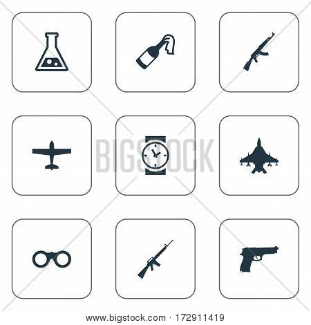 Set Of 9 Simple War Icons. Can Be Found Such Elements As Rifle Gun, Molotov, Chemistry And Other.