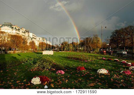 Rainbow On A Park At Paris On France