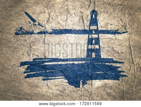 Lighthouse on brush stroke seashore. Clouds line with retro airplane icon. Concrete textured
