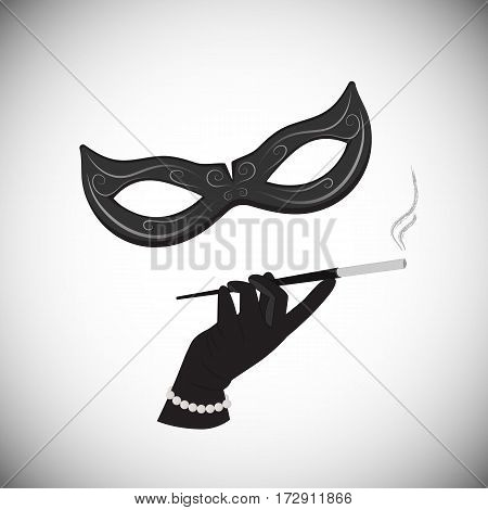 The strange lady in a masquerade mask holding a cigarette in the mouthpiece. A woman in a mafia style.