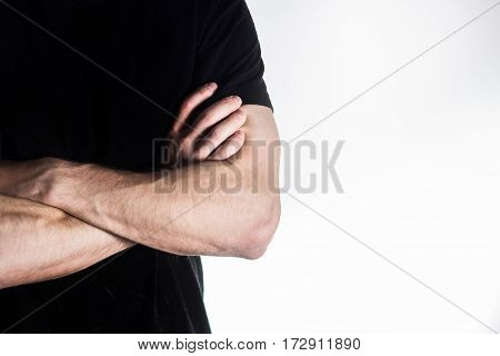 Man, Guy, Athlete, Sportsman, Bodybuilder In Black T-shirt With Arms Crossed On The Body, Coach, Iso