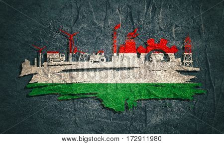 Energy and Power icons set and grunge brush stroke. Energy generation and heavy industry relative image. Agriculture and transportation. Concrete textured. Flag of the Hungary