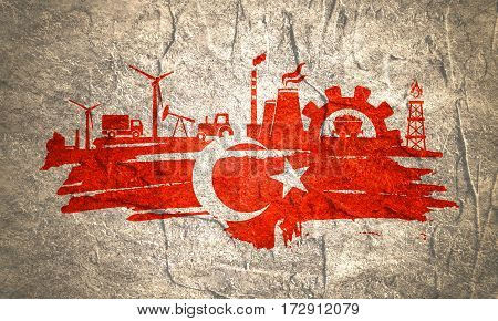 Energy and Power icons set and grunge brush stroke. Energy generation and heavy industry relative image. Agriculture and transportation. Concrete textured. Flag of the Turkey