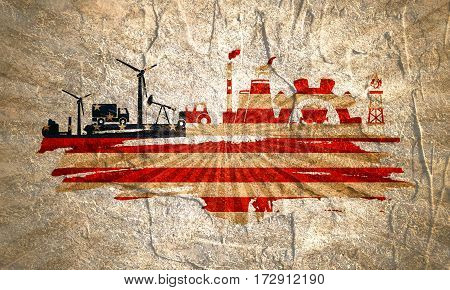 Energy and Power icons set and grunge brush stroke. Energy generation and heavy industry relative image. Agriculture and transportation. Concrete textured. Flag of the USA