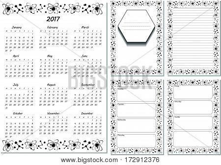 Set of pages template for daily planner. Printable, for scrapbook. Black and white molecule design. Part 1. Calendar 2017, cover, for every day in week notes, lined page. Vector illustration.