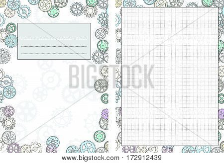Set of pages template for daily planner. Printable for scrapbook. Gears design. Part 5. Diary cover page with cells. Vector illustration.