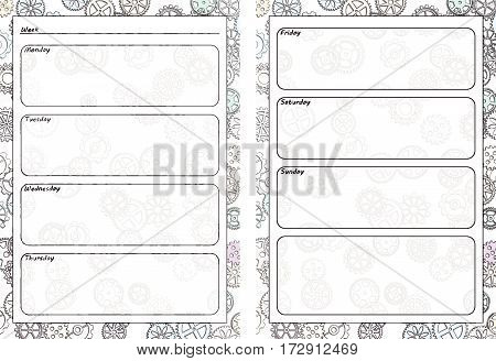 Set of pages template for daily planner. Printable for scrapbook. Gears design. Part 3. Page for every day in week notes. Vector illustration.