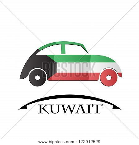 car icon made from the flag of Kuwait