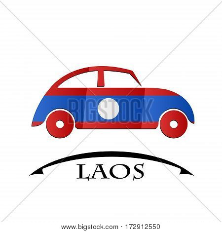 car icon made from the flag of Laos