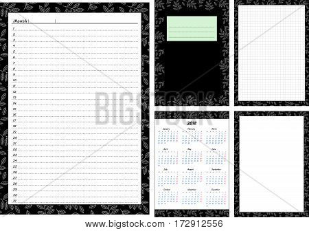 Set of pages template for daily planner. Printable for scrapbooking. Leaves on green background design. Part 2. Calendar 2018 cover cell and empty page for every day in month notes. Vector illustration.