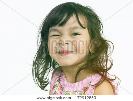 Little Girl Cheerful Face Expression Studio Portrait