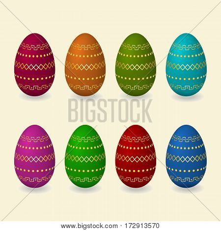 Set Easter golden eggs with flowers butterfly leaves geometric ornament. Vector illustration.