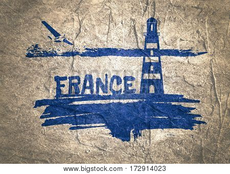 Lighthouse on brush stroke seashore. Clouds line with retro airplane icon. France country name text. Concrete textured